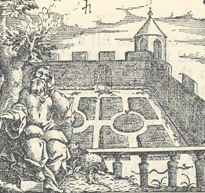 Democritus' garden, frontispiece to Burton's Anatomy of Melancholy (1621)