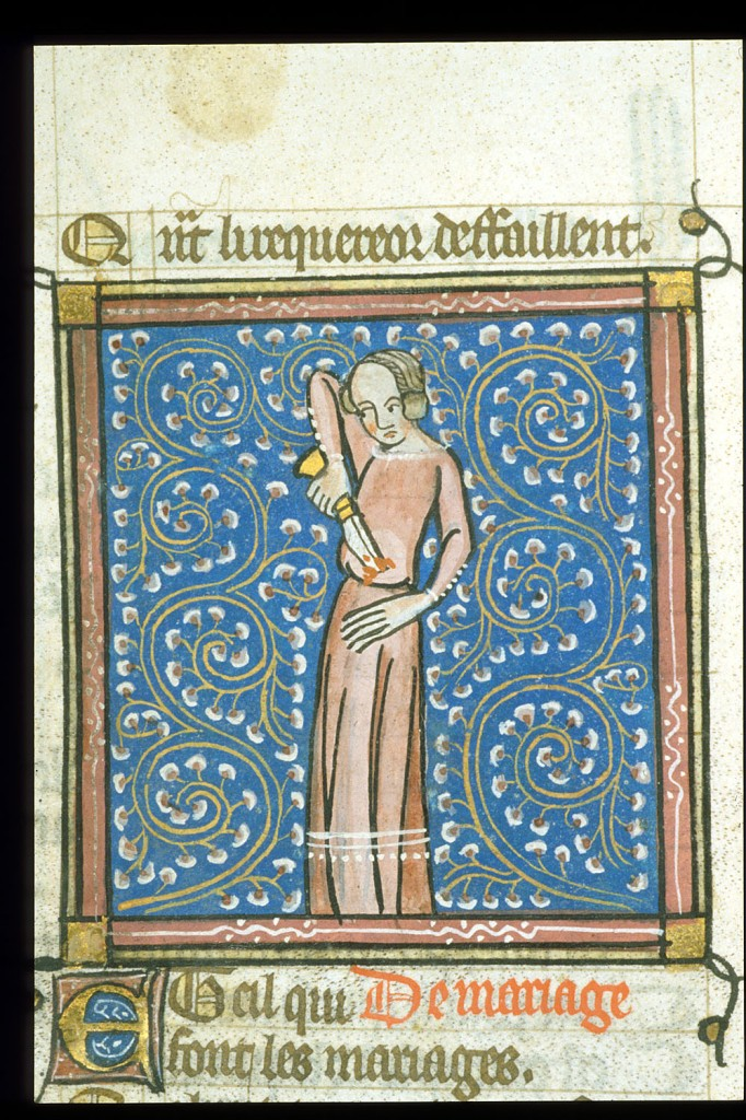 British Library MS Egerton 881, f. 64v. Nero committing suicide. From a production of Guillaume de Lorris and Jean de Meun's 'Roman de la Rose', Central France (Paris?), c. 1380. (British Library Catalogue of Illuminated MSS)