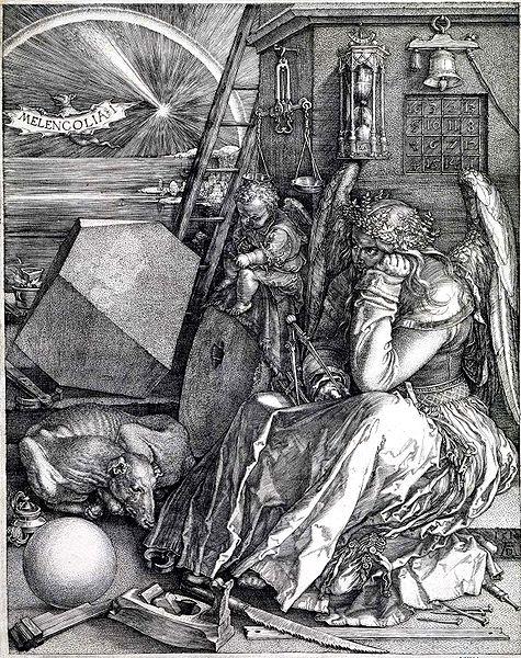 Albrecht Dürer, Melancholia I (1514), copper plate. Wikimedia Commons