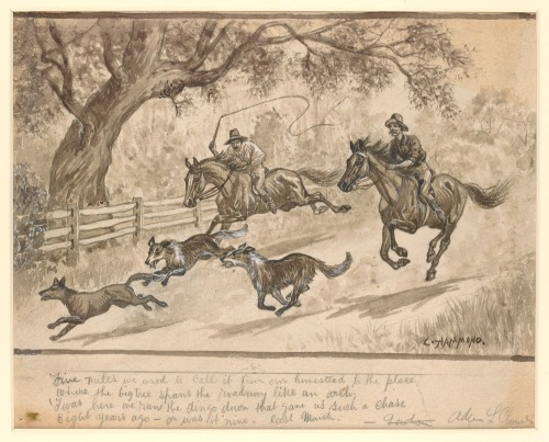 """Charles E. Hammond, 2 of 6 sepia wash drawings, """"The Sick Stockrider,"""" ca. 1915. Image courtesy of The State Library of Victoria, digital archive."""
