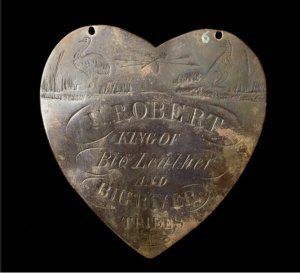 The breastplate given to 'U. Robert King of the Big River and Big Leather Tribes' by an unknown settler at Goonal station. Photo Dragi Markovic, National Museum of Australia