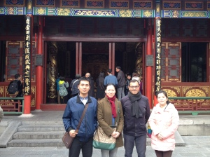 Fom left: MA student Zhan Shaowei, Prof Luo Xiaoxiang, Dr Giovanni Tarantino and MA student Zhao Yuqian