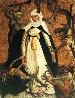 Image: St. Catherine of Siena besieged by demons. c 1500. Courtesy of Wikimedia Commons.