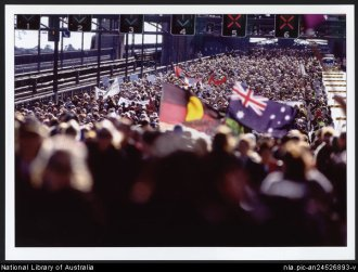 Huge crowd on Sydney Harbour Bridge during the Walk for Reconciliation, Corroboree 2000, by Loui Seselja. Courtesy of the National Library of Australia.