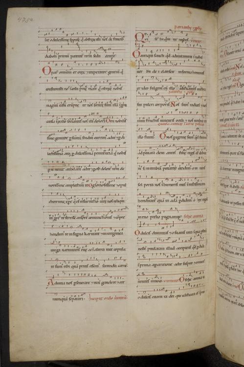 Beginning of the Ordo VIrtutum, Wiesbaden, Hessische Landesbibliothek, Hs. 2, f. 478v.