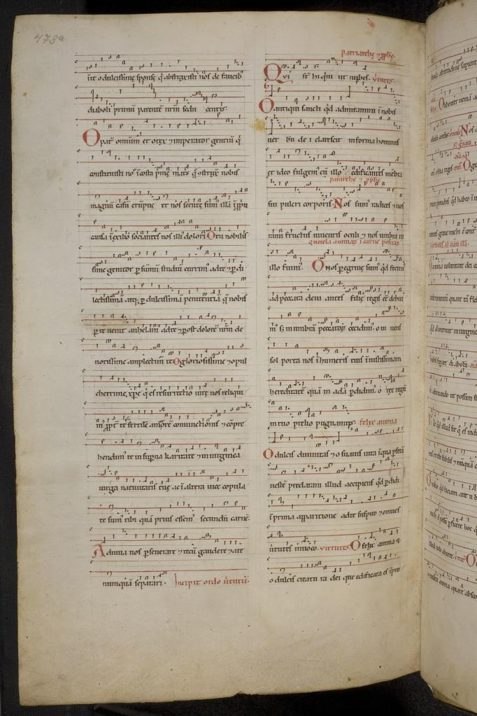 Beginning of the Ordo VIrtutum, Wiesbaden, Hessische Landesbibliothek, Hs. 2, f. 478v.