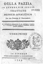 Front page of of 'Della Pazzia' by Vincenzo Chiarugi.