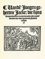 The Friar dancing in the brambles while Jack Pipes Historie van de jongen geheeten Jacke, printed by Michiel Hillen van Hoochstraten Antwerp, 1528, p.1.  (From the digitale bibliotheek voor de Nederlandse letteren, http://www.dbnl.org/tekst/_jac001jack01_01/_jac001jack01_01_0001.php)  This woodcut also appears in the Wynkyn de Worde English edition of the poem, c.1510.