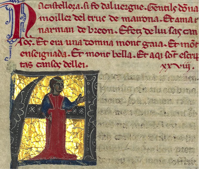 Na Casteloza, an early thirteenth-century trobairitz whose love poem Goody discusses. (BnF ms. 12473)