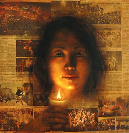 Image: ShinYoung An, Candlelit, 2011, Oil on Prepared Newspaper, Mounted on Canvas. © ShinYoung An.