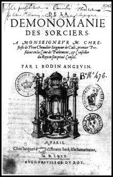 Title page from Jean Bodin's 'De la demonomanie des sorciers' (Paris, 1580). Courtesy of Wikimedia Commons.