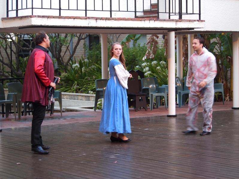Figure 3: Lollio (Patrick Whitelaw), Isabella (Ellen O'Connor) and Antonio (Rob Herfkens)/