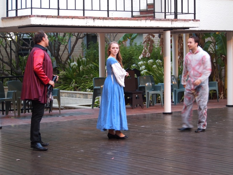 Figure 3: Lollio (Patrick Whitelaw), Isabella (Ellen O'Connor) and Antonio (Rob Herfkens)/