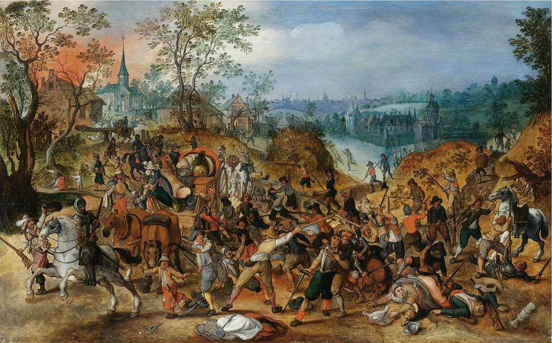1200px-Sebastiaan_Vrancx_(studio)_-_A_landscape_with_travellers_ambushed_outside_a_small_town