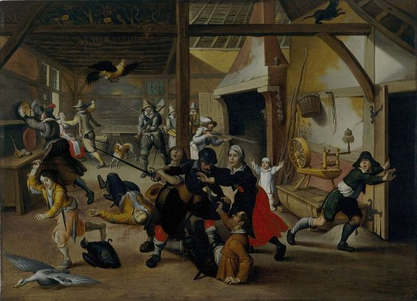 Sebastian Vrancx, Soldiers plundering a farmhouse, ca. 1600. Deutsches Historisches Museum, Berlin. Image courtesy of Wikimedia Commons.