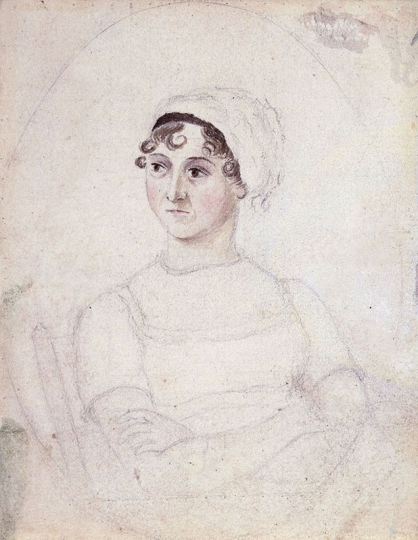 Portrait of Jane Austen in watercolor and pencil, by Cassandra Austin. Image Courtesy of Wikimedia Commons.