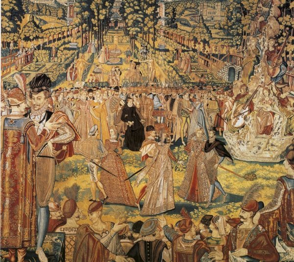 One of the Valois tapestries, depicting a ball held by Catherine de Medici (centre) at the Tuileries Palace, Paris, in 1573 in honour of Polish envoys. Designed by Antoine Caron and made in the Spanish Netherlands, later 16th century.
