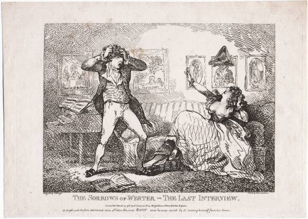 Fig. 1 – Thomas Rowlandson, The Sorrows of Young Werther – The Last Interview, London, 1786. Lewis Walpole Library.
