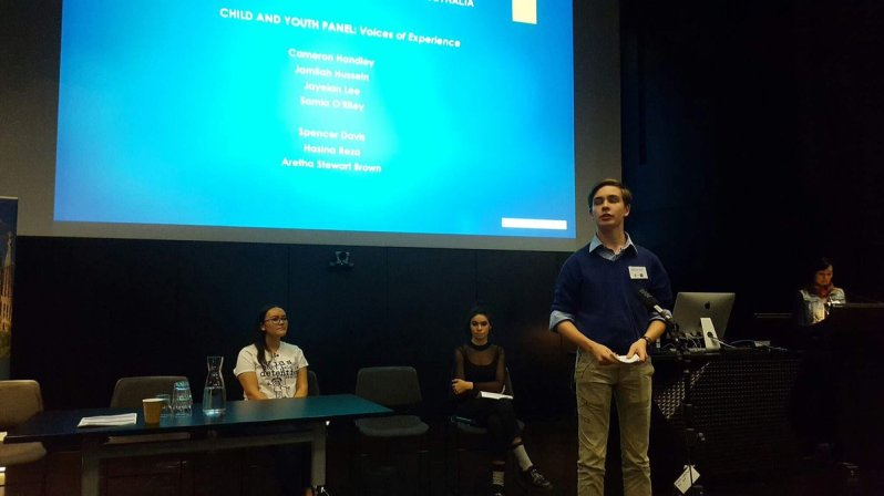 Youth panel from the Victorian Student Representative Council at 'Children's Voices.'