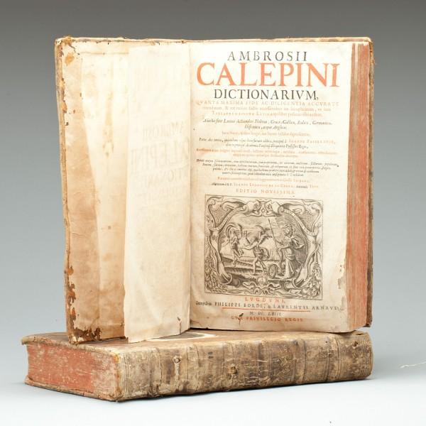 A late edition of Ambrogio Calepino's Dictionarium (Lyon, 1663).