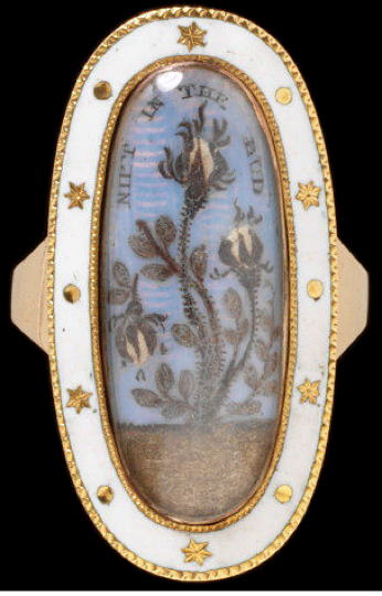 Gold mourning ring enamelled in white.