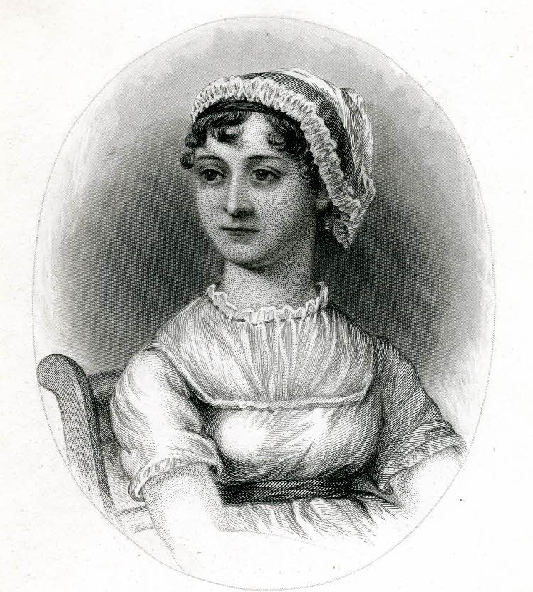 Portrait; half length, seated on chair, head directed to left; wearing frilled cap and fichu; vignette; in oval; after C Austen. 1870 Stipple and etching © The Trustees of the British Museum