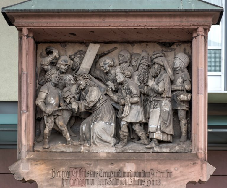 Adam Kraft, The Fifth Fall of Christ on his way from the House of Pilate to Calvary, ca. 1500. Nürnberg, Germanisches Nationalmuseum
