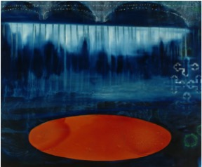 Jo Darbyshire, Narrows Bridge and the Stories Below the Surface, 2004. Oil and redgum resin on canvas, 150cm x 150cm.