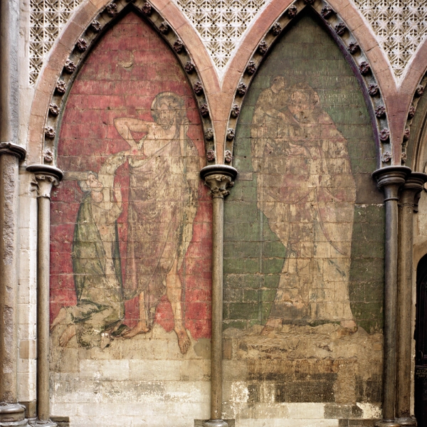 Wall painting at Westminster Abbey featuring Apostle Thomas probing Christ's wounds (left) and St Christopher carrying the infant Christ (right). © The Dean & Chapter of Westminster.