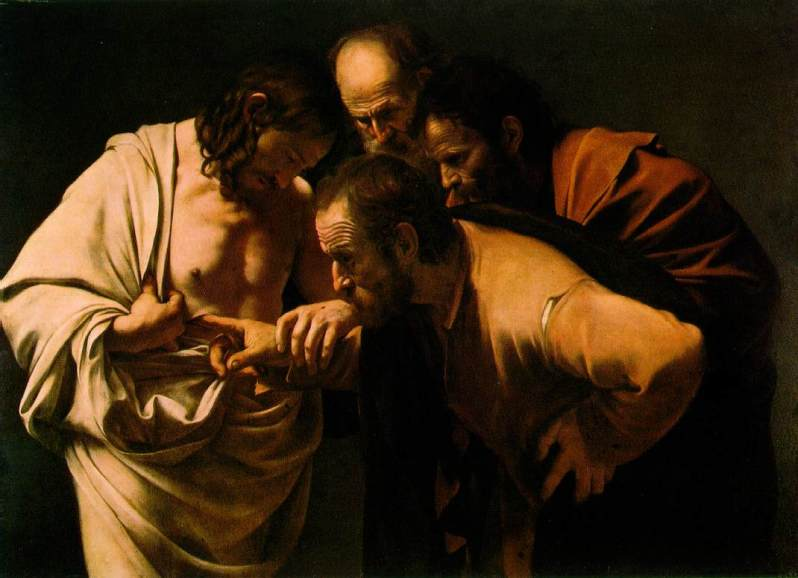 Michelangelo Caravaggio, The Incredulity of Saint Thomas, c.1600. Courtesy of Wikimedia Commons.