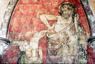 Detail from Wall painting of Thomas probing Christ's wounds at Westminster Abbey. © The Dean & Chapter of Westminster.