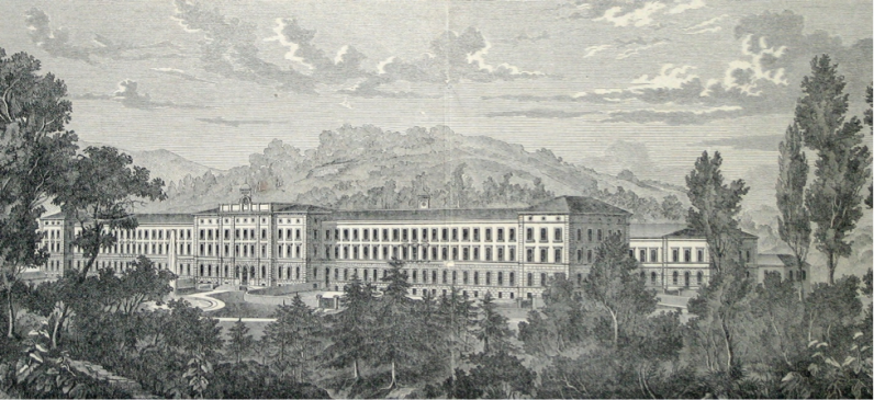 The Burghölzli psychiatric clinic in Switzerland, 1880s.
