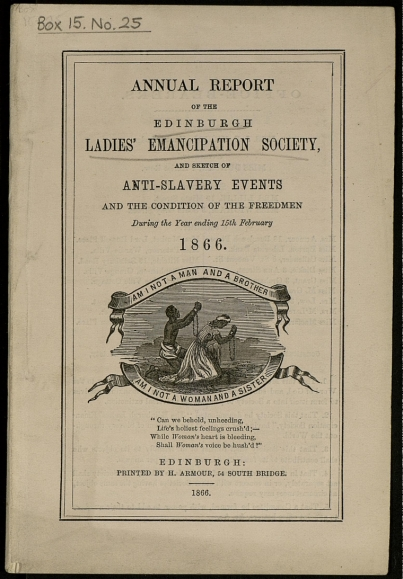 Figure 2. An adaption of Wedgwood's original medallion which was published on the cover of the Annual Report of the Edinburgh Ladies Emancipation Society, 1866. Courtesy of Wikimedia Commons.
