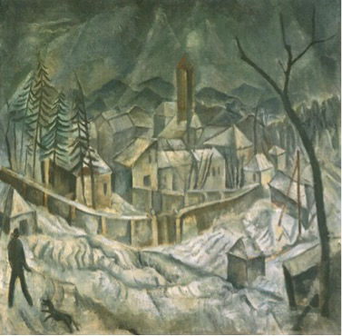 Max Gluber, Winterlandschaft Burghölzli [Winter Landscape at Burghölzli], 1917. Courtesy of the Eduard, Ernst and Max Gubler Foundation.