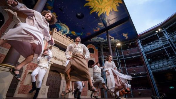 Image: A jig by any other name: Much Ado About Nothing cast members perform a dance that mixes Jacobean and Maori dances. Photo: Eddie Jim. Courtesy of the Sydney Morning Herald.