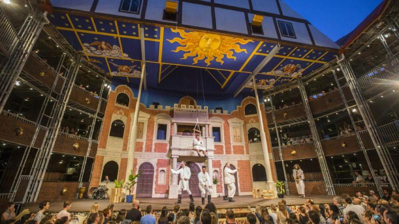 Image: Actors perform 'Much Ado About Nothing' at the Pop-Up Globe in Auckland. Courtesy of Herald Sun.