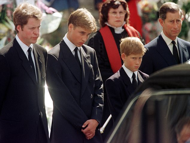 Princess Diana's brother, Earl Spencer, with Prince William and Prince Harry, and Prince Charles. Image courtesy of the Daily Mail.