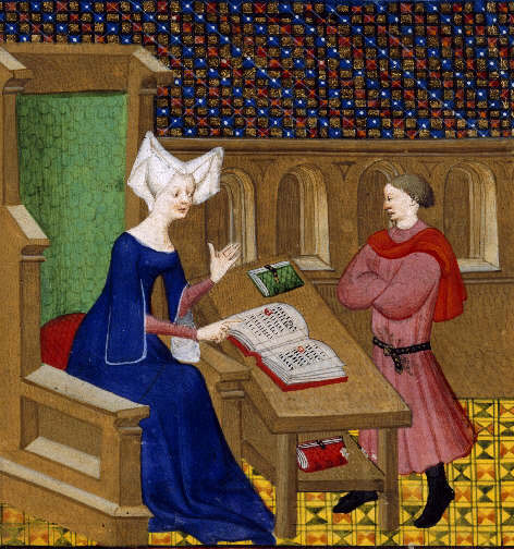 Christine de Pisan instructs her son, Jean de Castel. Collected Works of Christine de Pisan, c.1413. © British Library Board.