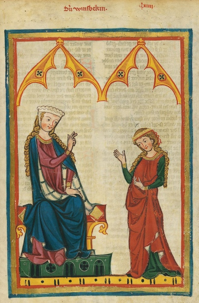 Codex Manesse or Great Heidelberg Book of Songs, Cod. Pal. germ. 848, fol. 217r, Die Winsbekin,  c. between 1305 and 1315. © Heidelberg University Library.