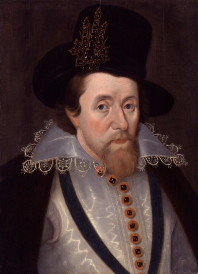 King James I of England and VI of Scotland after John De Critz the Elder oil on panel