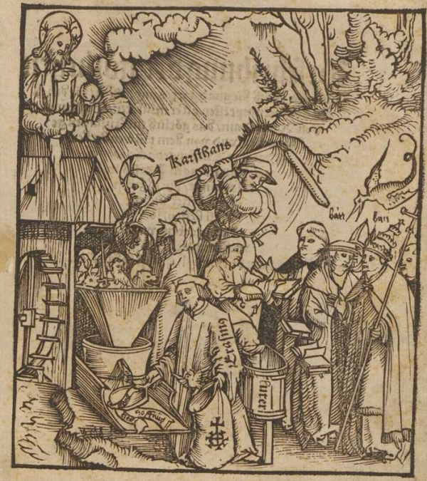 'The Divine Mill' (1521), by Martin Seger (www.e-rara.ch) Christ pours grain into a mill, which is then gathered by Erasmus and baked into the gospel by Luther. This 'bread', which takes on the form of books, is rejected by monks, bishops, and the pope.