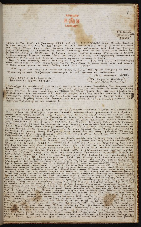 'The History of 'Angria': fragments', Branwell Brontë (estimated 1836-37). Courtesy of the Trustees of the British Library.