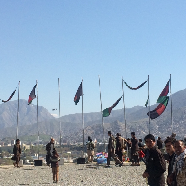 The view of the Kabul skyline from Wazir Akbar Khan Hill: a shared space between NATO helicopters, kites and Afghan flags. Courtesy of Alex Edney-Browne.