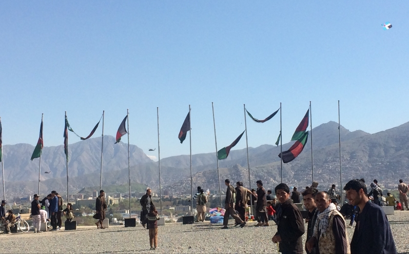 The view from Kabul from Wazir Akbar Khan Hill gives a sense of the skyline there: NATO helicopters, kites, Afghan flags. Courtesy of Alex Edney-Browne.