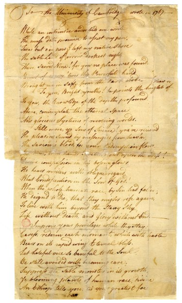 The poem to the University of Cambridge, in New England by Phillis Wheatley. Courtesy, American Antiquarian Society.