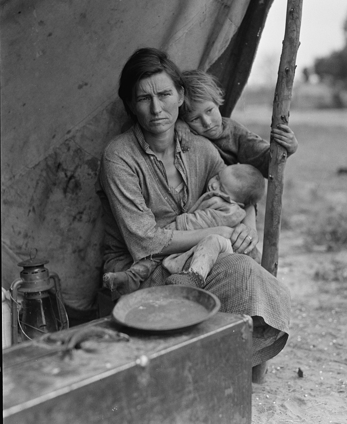 Migrant agricultural worker's family. Seven hungry children. Mother aged thirty-two. Father is native Californian. Nipomo, California. Photographer: Dorothy Lange. Courtesy of Library of Congress Prints and Photographs Division Washington, D.C. 20540 USA