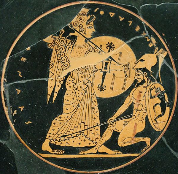 Attic red-figure kylix showing Athena slaying the Gigante Enkelados (c. 550–500 BC)