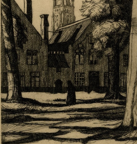A view of the Béguinage, through trees; a nun walks to left in centre; a spire is visible behind. Illustration to 'Western Flanders' by Laurence Binyon and William Strang, published by the Unicorn Press in 1899. 1898 Etching and drypoint © The Trustees of the British Museum
