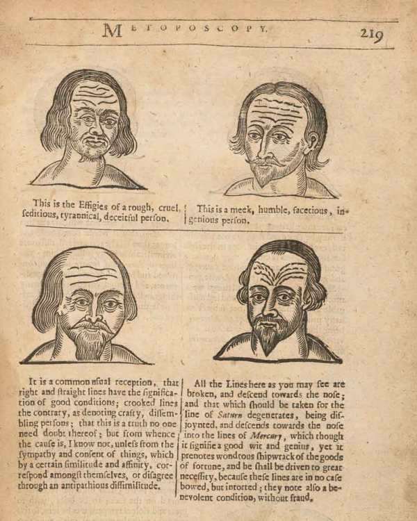 Facial illustrations for physiognomie and chiromancie from Richard Saunders, Physiognomie and Chiromancie, Metoposcopie (1671), 212. Courtesy of the Wellcome Collection, CC BY