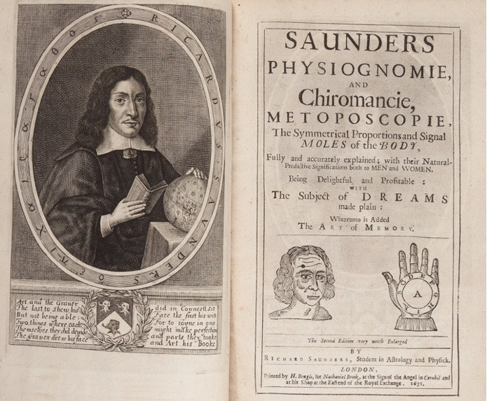 Figure 2: Frontispiece of Richard Saunders, Physiognomie and Chiromancie, Metoposcopie (1671). Image courtesy of Heritage Auctions.